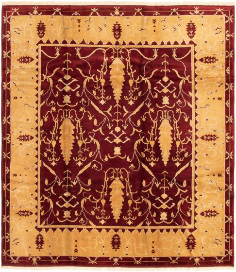Bordered  Traditional Red Area rug 8x10 Turkish Hand-knotted 293268