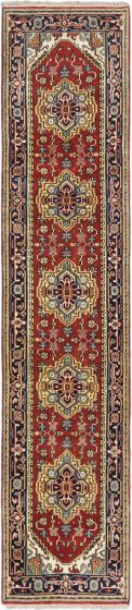 FloralTraditional Brown Runner rug 12-ft-runner Indian Hand-knotted 179704