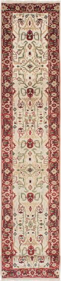 Traditional Ivory Runner rug 20-ft-runner Indian Hand-knotted 224019