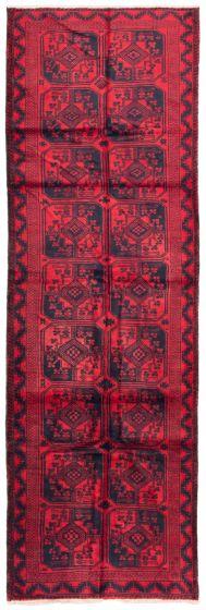 Bordered  Tribal Red Runner rug 12-ft-runner Afghan Hand-knotted 342426