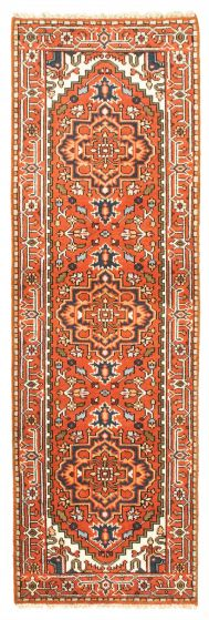 Bordered  Traditional Brown Runner rug 8-ft-runner Indian Hand-knotted 344873