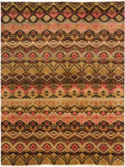 Transitional Brown Area rug 9x12 Indian Hand-knotted 184268