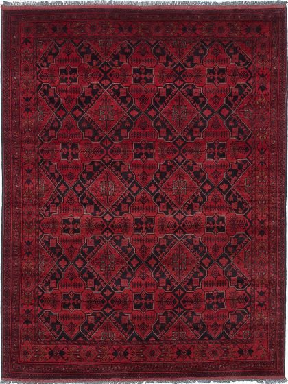 Geometric  Tribal Red Area rug 5x8 Afghan Hand-knotted 222344