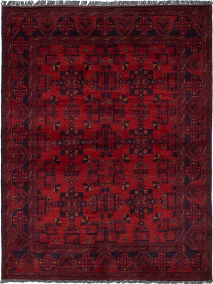 Traditional  Tribal Red Area rug 4x6 Afghan Hand-knotted 236171