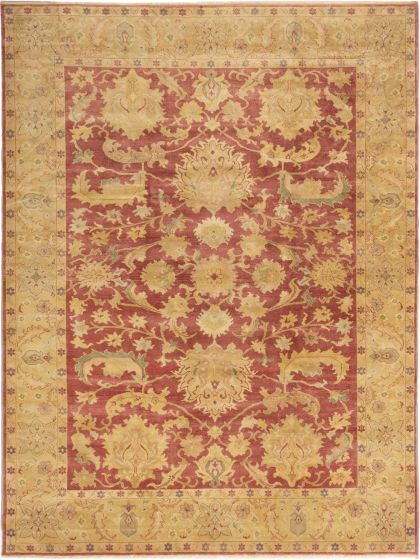 Bordered  Traditional Red Area rug 9x12 Turkish Hand-knotted 280821