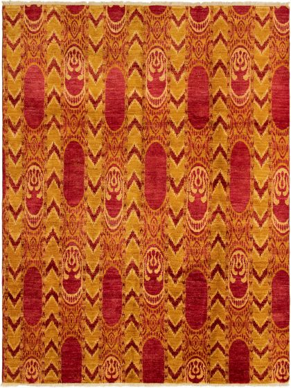 Casual  Contemporary Red Area rug 6x9 Indian Hand-knotted 292818