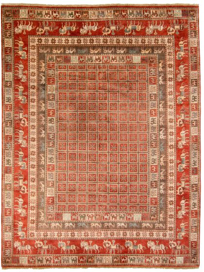 Tribal Red Area rug 9x12 Indian Hand-knotted 313417