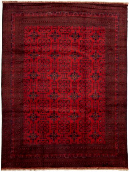 Bordered  Tribal Red Area rug 9x12 Afghan Hand-knotted 330032