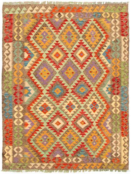 Bordered  Geometric Grey Area rug 4x6 Turkish Flat-weave 330249
