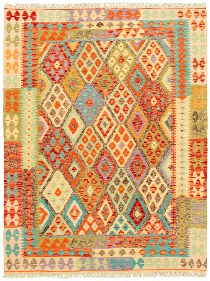 Bordered  Geometric Multi Area rug 4x6 Turkish Flat-weave 330256