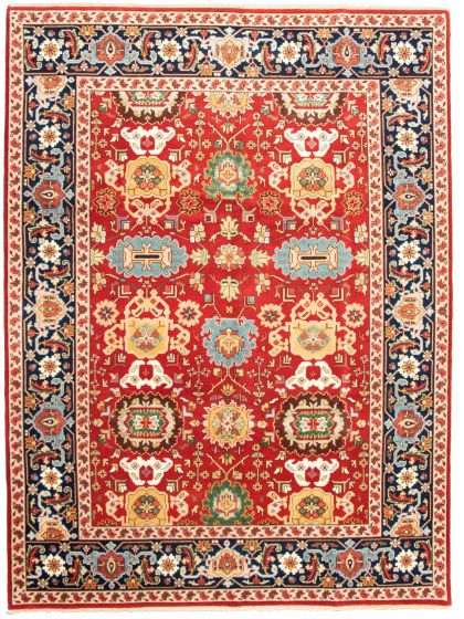 Bordered  Traditional Red Area rug 9x12 Indian Hand-knotted 331307