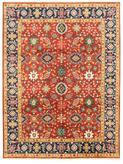 Bordered  Traditional Red Area rug 9x12 Indian Hand-knotted 331309