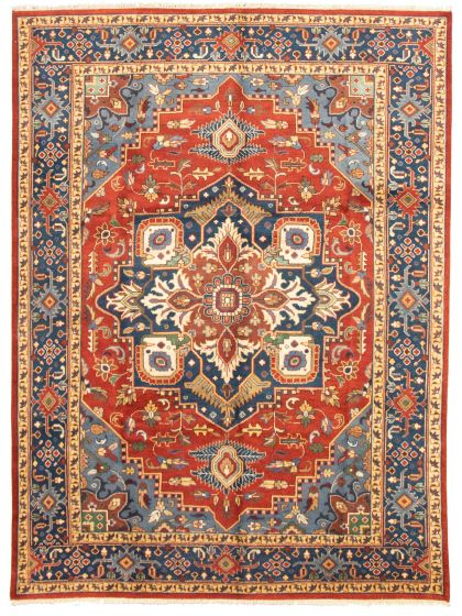 Bordered  Traditional Brown Area rug 9x12 Indian Hand-knotted 331311