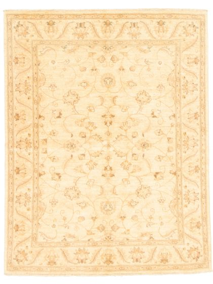 Bordered  Traditional Ivory Area rug 4x6 Pakistani Hand-knotted 331587