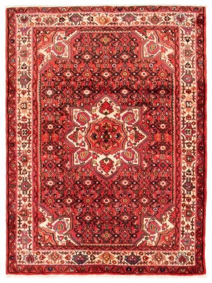 Bordered  Traditional Red Area rug 4x6 Persian Hand-knotted 353682