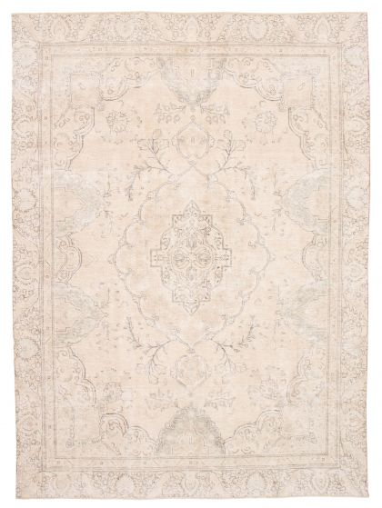 Bordered  Vintage Yellow Area rug 9x12 Turkish Hand-knotted 360556