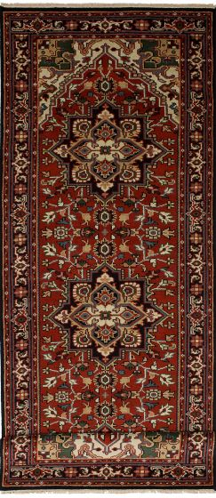 Geometric  Traditional Red Runner rug 12-ft-runner Indian Hand-knotted 246848