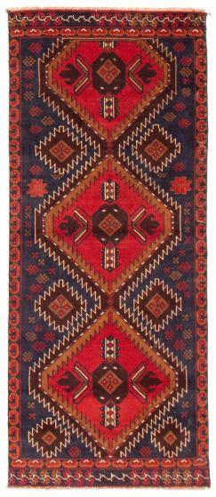 Geometric  Tribal Red Runner rug 6-ft-runner Afghan Hand-knotted 367570