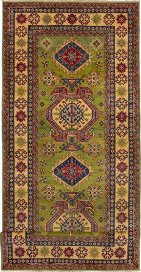 Bordered  Geometric Green Runner rug 20-ft-runner Afghan Hand-knotted 272642