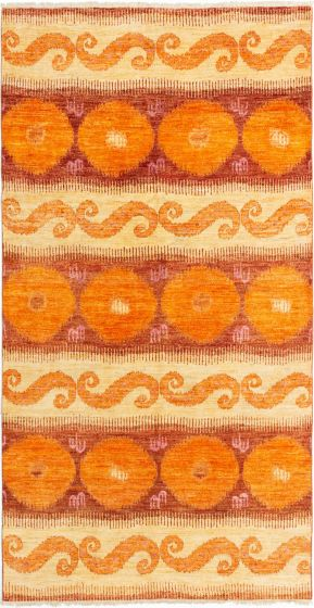 Casual  Transitional Orange Area rug Unique Indian Hand-knotted 280667