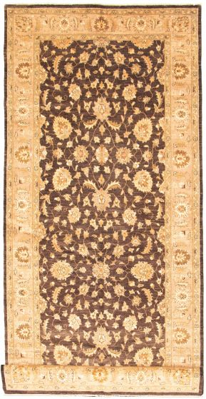 Bordered  Traditional Brown Runner rug 16-ft-runner Indian Hand-knotted 330331
