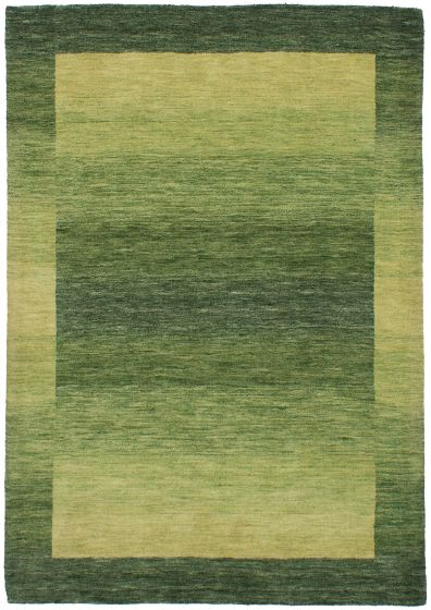 Bordered  Tribal Green Area rug 5x8 Indian Hand Tufted 262366