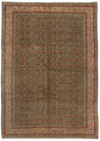 Bordered  Vintage Green Area rug 6x9 Turkish Hand-knotted 279842
