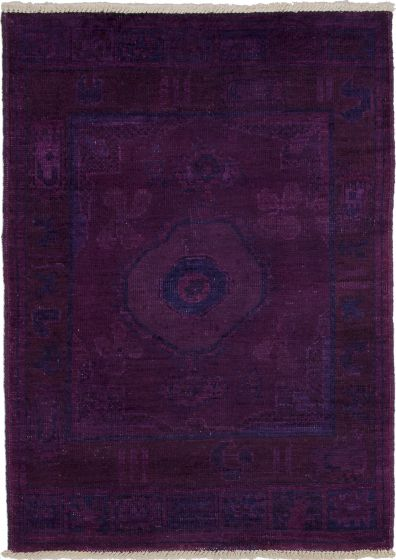Casual  Transitional Purple Area rug 3x5 Indian Hand-knotted 280099