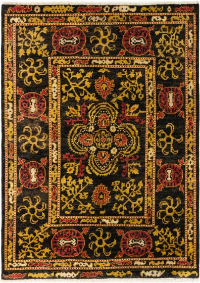 Bordered  Transitional Black Area rug 5x8 Indian Hand-knotted 280319
