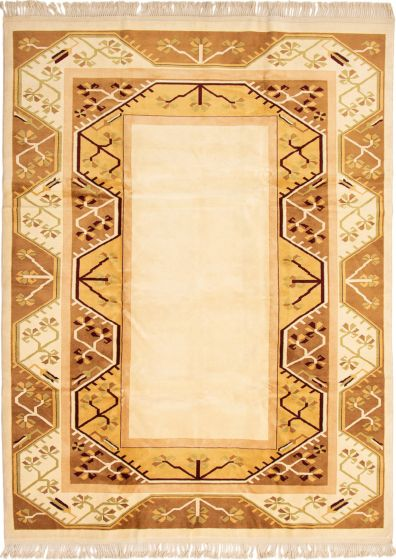 Bordered  Traditional Ivory Area rug 6x9 Turkish Hand-knotted 293377