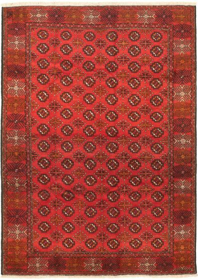 Bordered  Tribal Red Area rug 5x8 Turkish Hand-knotted 318487