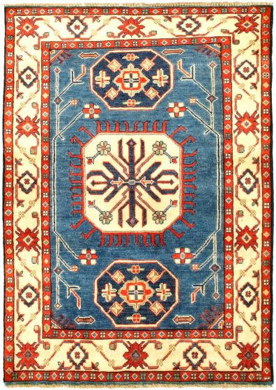 Bordered  Traditional Blue Area rug 3x5 Afghan Hand-knotted 329861
