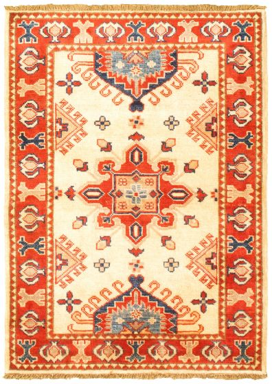 Bordered  Traditional Ivory Area rug 3x5 Afghan Hand-knotted 330177