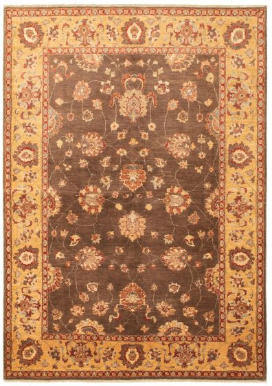 Bordered  Traditional Brown Area rug 5x8 Afghan Hand-knotted 330451
