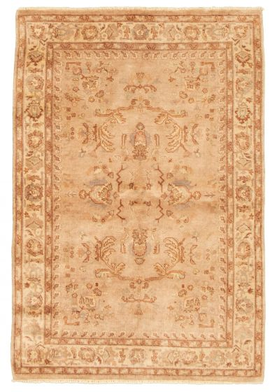 Bordered  Traditional Brown Area rug 4x6 Afghan Hand-knotted 331497