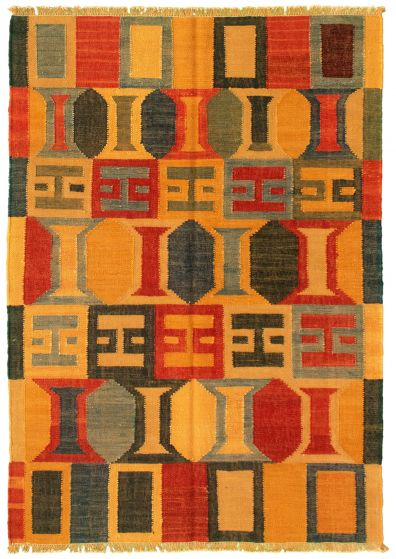 Casual  Transitional Brown Area rug 3x5 Turkish Flat-weave 335482