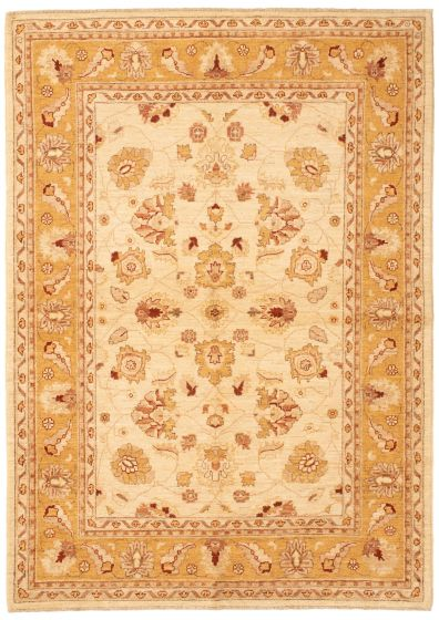Bordered  Traditional Ivory Area rug 5x8 Afghan Hand-knotted 336244