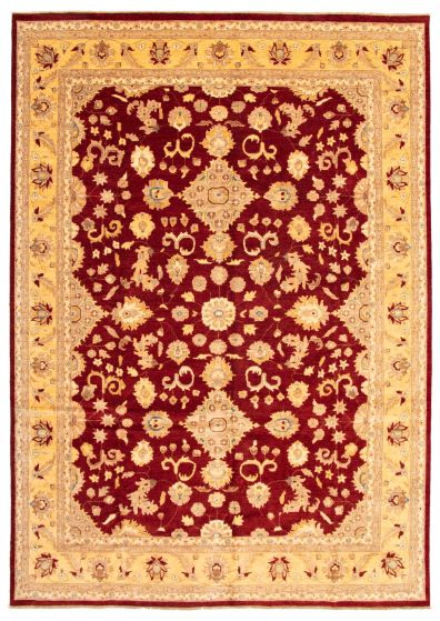 Bordered  Traditional Red Area rug 10x14 Afghan Hand-knotted 338442