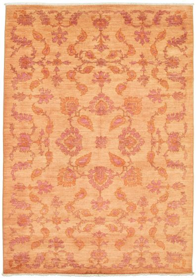 Floral  Transitional Brown Area rug 5x8 Pakistani Hand-knotted 339001