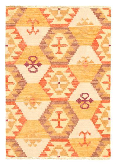 Flat-weaves & Kilims  Traditional Orange Area rug 4x6 Turkish Flat-weave 344445