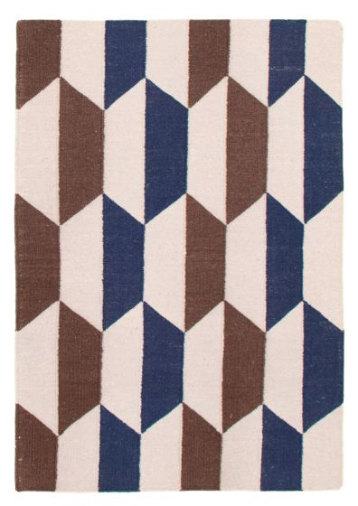 Flat-weaves & Kilims  Transitional Grey Area rug 3x5 Indian Flat-weave 344466