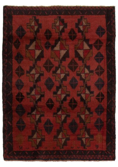 Bordered  Tribal Red Area rug 3x5 Afghan Hand-knotted 357122