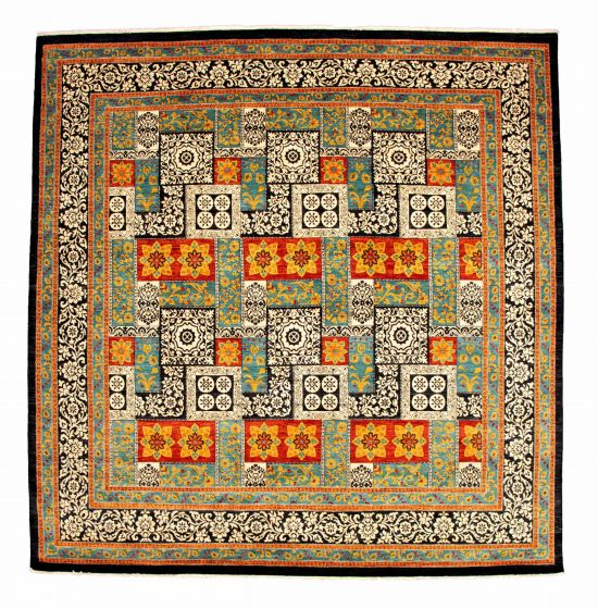 Casual  Transitional Green Area rug Unique Pakistani Hand-knotted 345149