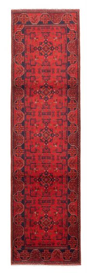 Bordered  Traditional Red Runner rug 10-ft-runner Afghan Hand-knotted 342322