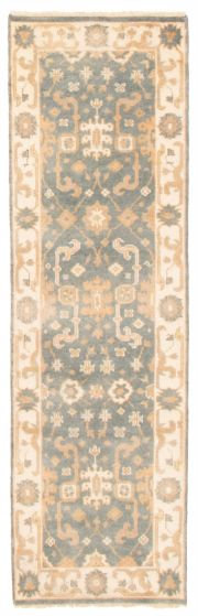 Bordered  Traditional Green Runner rug 8-ft-runner Indian Hand-knotted 349467