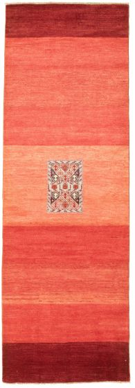 Casual  Transitional Red Runner rug 10-ft-runner Pakistani Hand-knotted 330454
