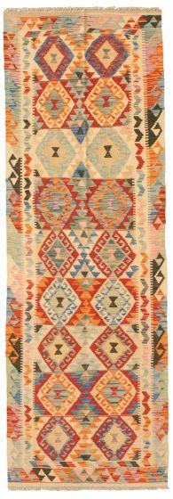 Bordered  Geometric Ivory Runner rug 8-ft-runner Turkish Flat-weave 331191