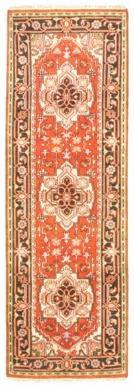 Bordered  Traditional Brown Runner rug 8-ft-runner Indian Hand-knotted 344549