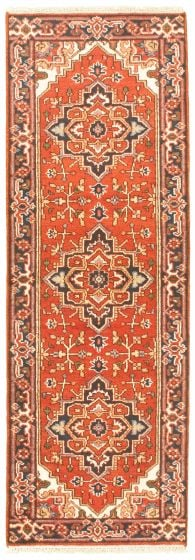 Bordered  Traditional Brown Runner rug 8-ft-runner Indian Hand-knotted 344563