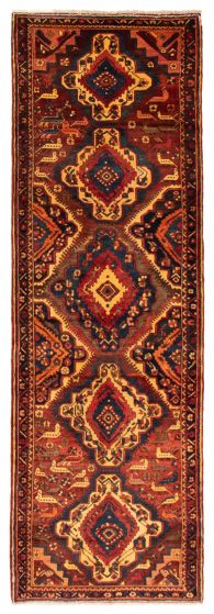 Bordered  Traditional Red Runner rug 12-ft-runner Persian Hand-knotted 358593